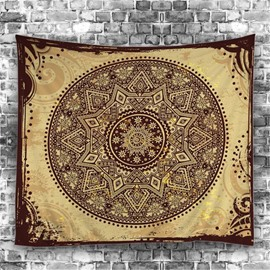 Bohemia Geometric Flower Buff Pattern Ethnic Style Hanging Wall Tapestry