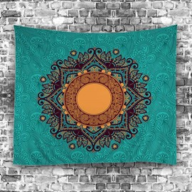 Green Bohemia Flower Pattern Ethnic Style Hanging Wall Tapestries