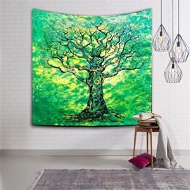 Green Tree Blossom Pattern Ethnic Style Hanging Wall Tapestries