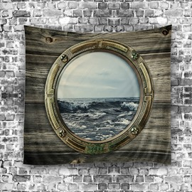 Wood Window and Ocean Modern Style Hanging Wall Tapestries