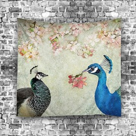 Two Peacocks and Floral Branches Classical Style Hanging Wall Tapestries