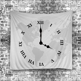 Clock Vector Diagram and World Map Modern Style Hanging Wall Tapestries