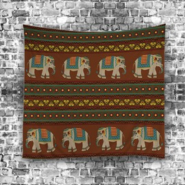 Eight Elephant Walking Ahead Ethnic Style Hanging Wall Tapestries