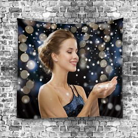 Elegant Woman and Snow Modern Style Hanging Wall Tapestries