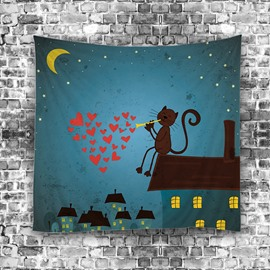 Black Cat Singing Love Under Moonlight Modern Style Hanging Wall Tapestries