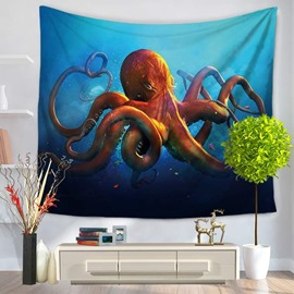 3D Red Octopus in Deep Blue Ocean Printed Hanging Wall Tapestry