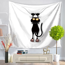 Cartoon Black Cat Grasping Ropes Modern Style Hanging Wall Tapestries