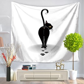 Cartoon Black Cat Looking Back Modern Style Hanging Wall Tapestries