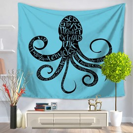 Black Octopus Modern Style Blue Hanging Wall Tapestries