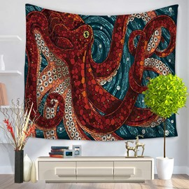 3D Red Octopus and Deep Blue Whirlpool Printed Hanging Wall Tapestry