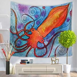 Watercolor Painting Orange Octopus in Blue Ocean Prints Hanging Wall Tapestries