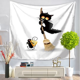 Cartoon Black Cat Frightened by Rat Prints Hanging Wall Tapestry