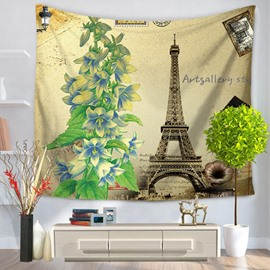 Eiffel Tower and Green Plants Prints Modern Style Hanging Wall Tapestries