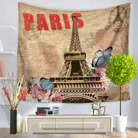 Paris Eiffel Tower and Butterflies Prints Modern Style Hanging Wall Tapestries
