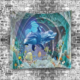 3D Dolphins Swimming in the Sea Printed Hanging Wall Tapestries