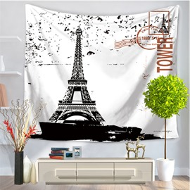 High Eiffel Tower White Modern Style Hanging Wall Tapestries