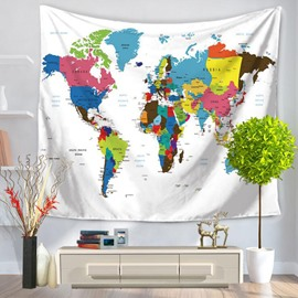 Colorful World Map Prints Modern Style Hanging Wall Tapestries