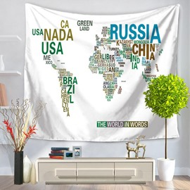 World Map Countries Prints Modern Style White Hanging Wall Tapestries