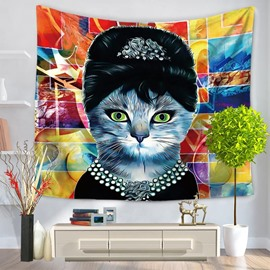 Cool Animal Star Cat Prints Modern Style Hanging Wall Tapestries