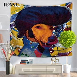 Oil Painting Crazy Elvis Presley Dog Prints Hanging Wall Tapestry