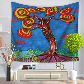 Oil Painting Tree with Circles-Swirls Leaves Blue Hanging Wall Tapestry