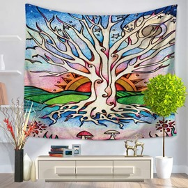 3D Oil Painting Artistic Tree and Sun Prints Hanging Wall Tapestry