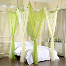 Yellow and Green Wonderful Wizard Style Polyester Eight Corner Bed Canopy
