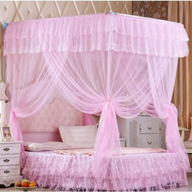 Pink U-Shape Rail Stainless Steel Bracket Polyester Retractable Bed Nets
