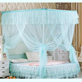 Light Blue U-Shape Rail Stainless Steel Bracket Polyester Retractable Bed Nets