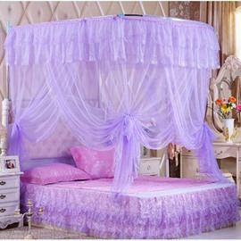 Purple U-Shape Rail Stainless Steel Bracket Polyester Retractable Bed Nets