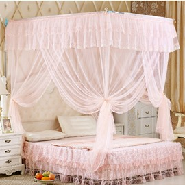Light Pink U-Shape Rail Stainless Steel Bracket Polyester Retractable Bed Nets