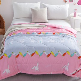Radish and Rabbits Pattern Polyester Lightweight Summer Quilts