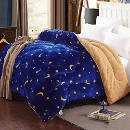 Stars and Moon Legend Blue Flannel and Berber Fleece Winter Quilts