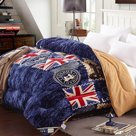 Royal Flag Blue Flannel and Berber Fleece Winter Quilts