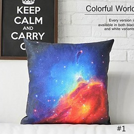 Clouds and Galaxy Space Prints Plush Throw Pillow
