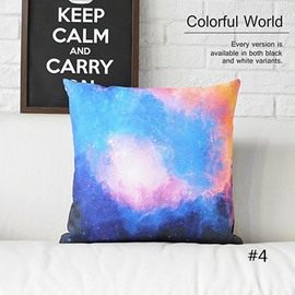 Colorful Clouds and Galaxy Space Prints Plush Throw Pillow