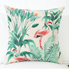 A Flamingo with Green Tropical Plants Pattern Linen Throw Pillow