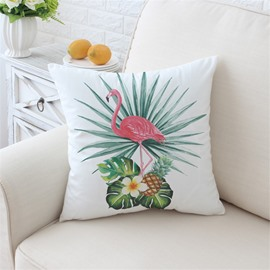 Flamingo and Pineapple Tropical Plants Pattern Plush Throw Pillow
