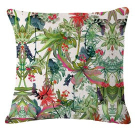 Hand-Painted Tropical Flowers Foliage Design Linen Throw Pillow