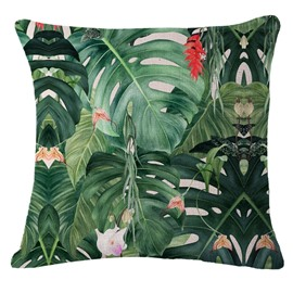 Hand-Painted Tropical Leaves Foliage Design Linen Throw Pillow