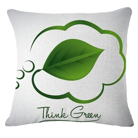 Emerald Green Leaf and thought Shape Design White Linen Throw Pillow