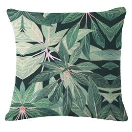 Hand-Painted Tropical Leaves Foliage Design Green Linen Throw Pillow