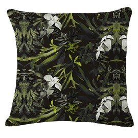 Hand-Painted White Flowers and Tropical Plants Foliage Design Linen Throw Pillow