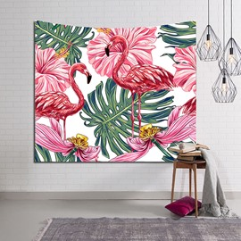 Blooming Flowers and Flamingos Tropical Plants Decorative Hanging Wall Tapestry