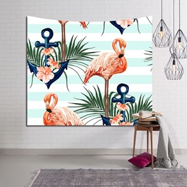 Flamingos and Floral Foliage Light Blue Stripe Decorative Hanging Wall Tapestry