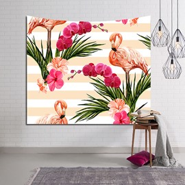 Flamingos and Floral Foliage Light Yellow Stripe Decorative Hanging Wall Tapestry