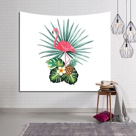 Flamingo and Banana Leaf Foliage Design Decorative Hanging Wall Tapestry