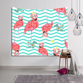 Sleepy Flamingos and Blue Wavy Lines Decorative Hanging Wall Tapestry