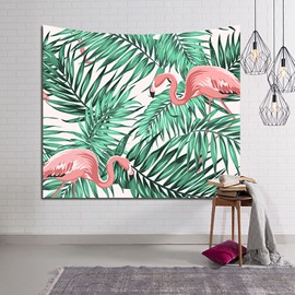 Decorative Tropical Flamingos and Foliage Design Hanging Wall Tapestry