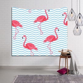 Flamingos and Blue Wavy Lines Decorative Hanging Wall Tapestry